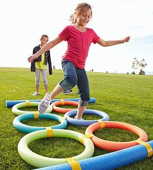 could make hopscotch with noodles, use a small inflatable beach ball to throw.