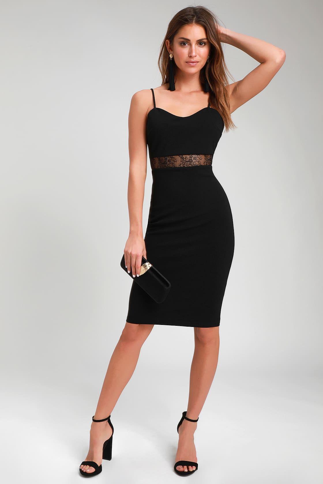 Limo ride black lace bodycon midi dress