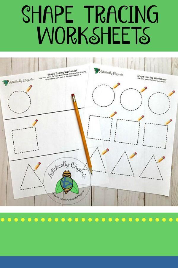 Shape Tracing Worksheets #shapes #worksheets #printable #preschool ...