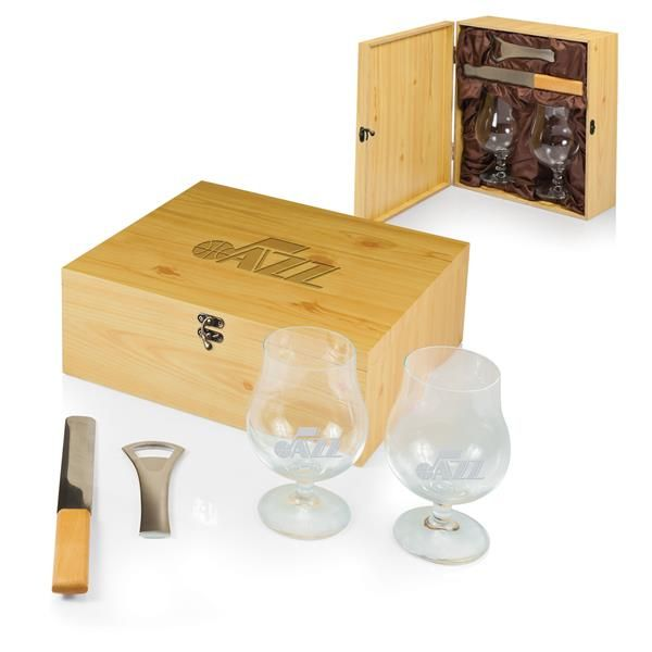 cool Utah Jazz Laser Engraved Bavarian Beer Set Natural
