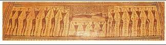 Dettaglio dell'anfora del Dipylon: il rito funerario di una donna.
