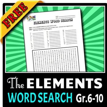 Elements Word Search Free Editable The Periodic Table