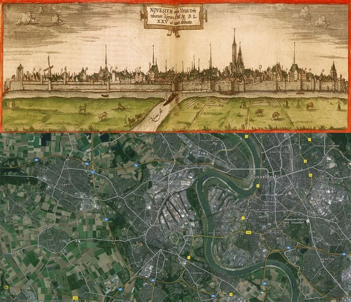 Neuss, #Germany #Map: Then(1575) and Now(2016) #OldCities #OldMaps ...