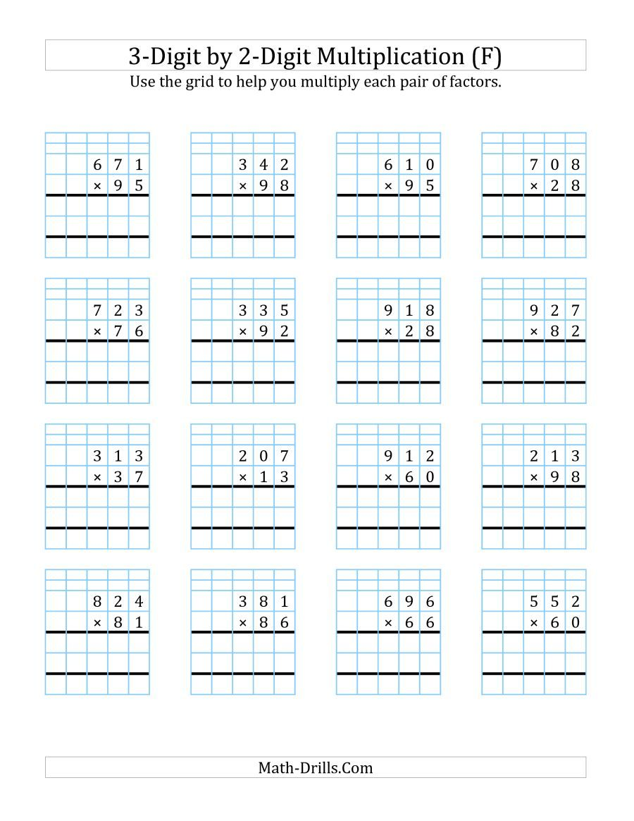 The 3 Digit By 2 Digit Multiplication With Grid Support F Math Worksheet Multiplication Worksheets Multiplication Math Multiplication Worksheets