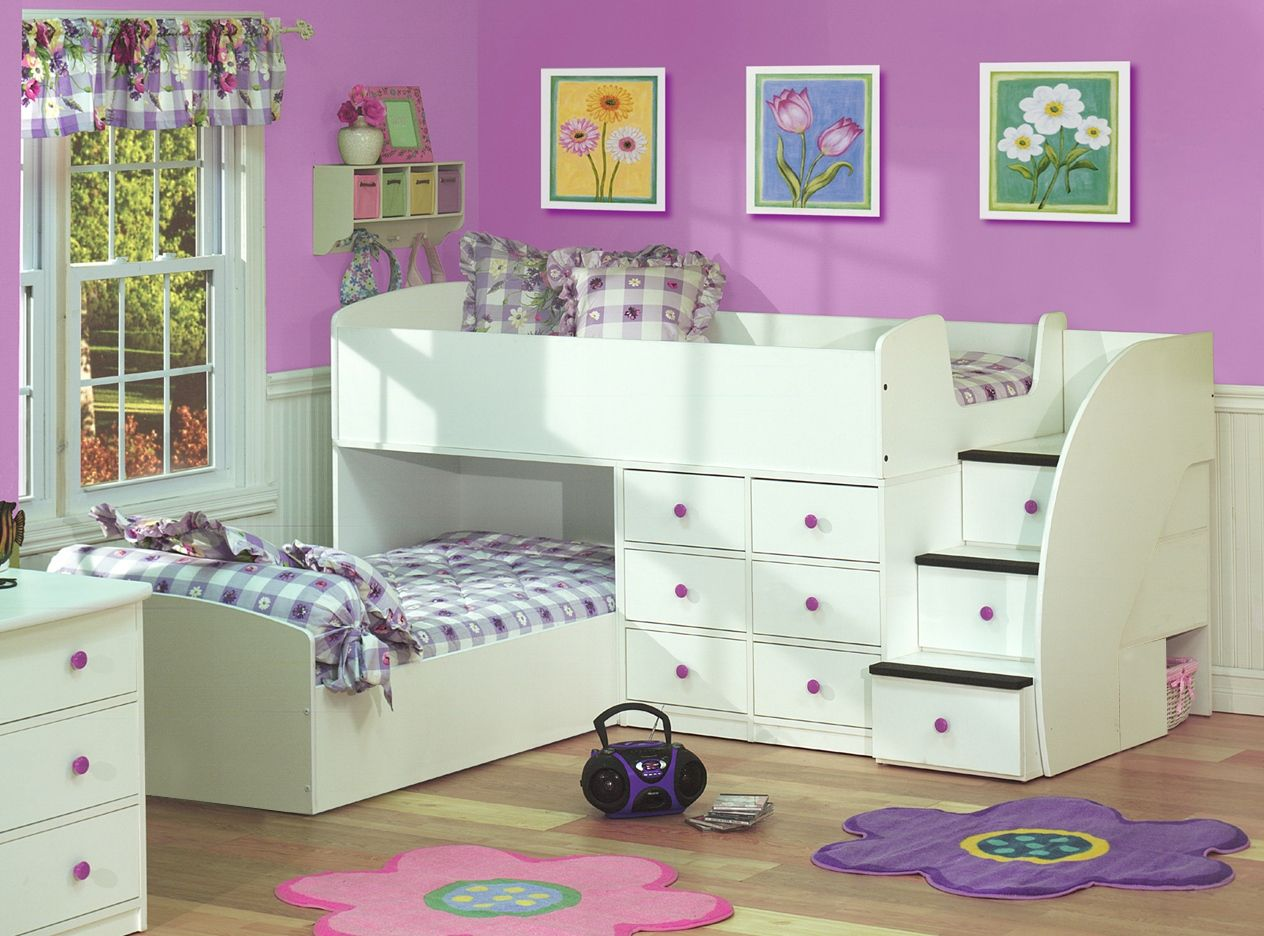Image of Berg LShaped Low Loft Bed Sierra Collection