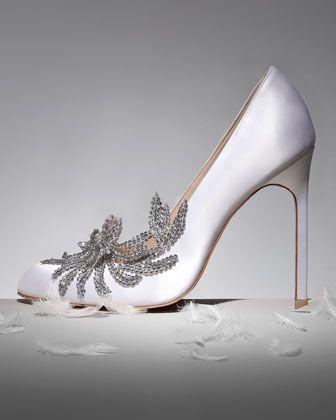 swan embellished satin pump white in 2018 u2022zapatos u2022 wedding rh pinterest com