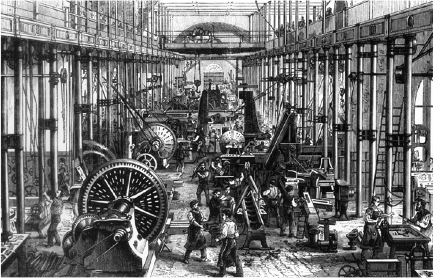 Drawing Showing A Typical Factory Scene In The Nineteenth Century