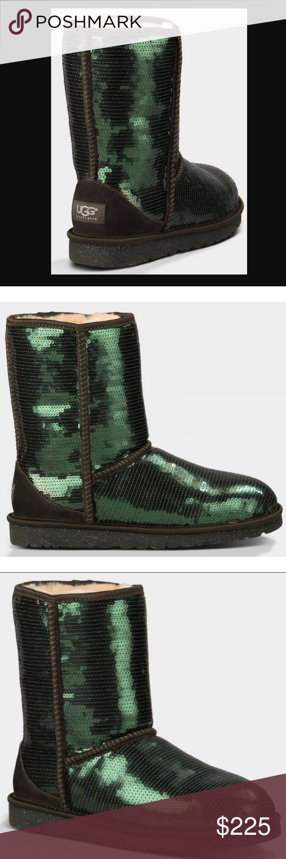 291546b8d31 UGG Women Classic Short Sparkles Boot Dark Green Brand new and rare ...