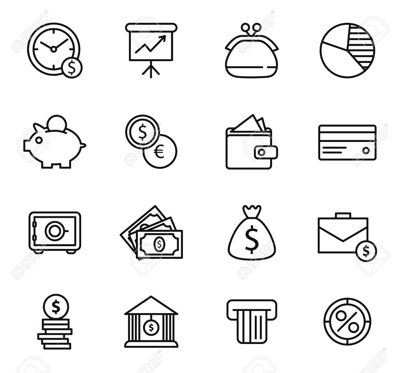 Finance and bank Icon Set. Simple line style black icons
