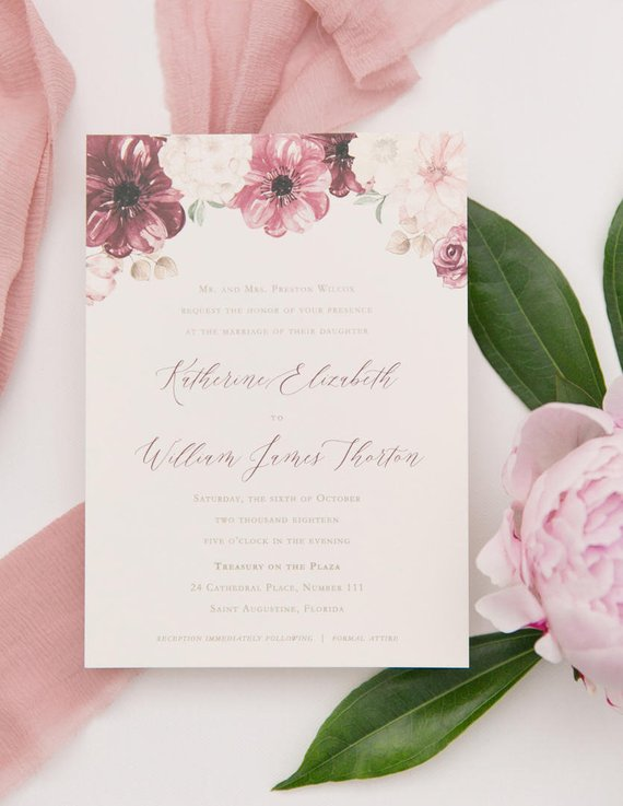 blush and wine floral wedding invitations burgundy envelopes