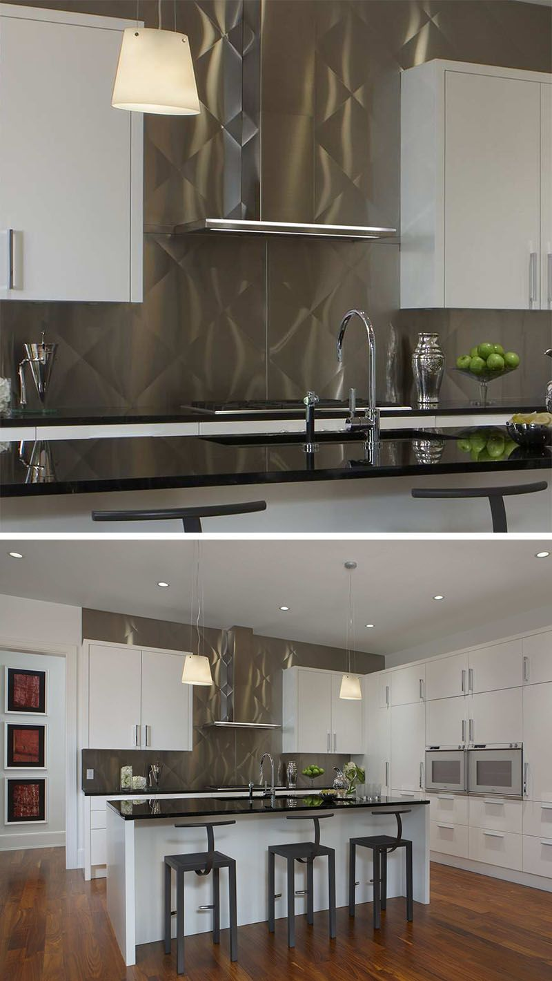 Kitchen Design Idea Install A Stainless Steel Backsplash For A Sleek Look Steel Backsplash Stainless Steel Backsplash Stainless Backsplash