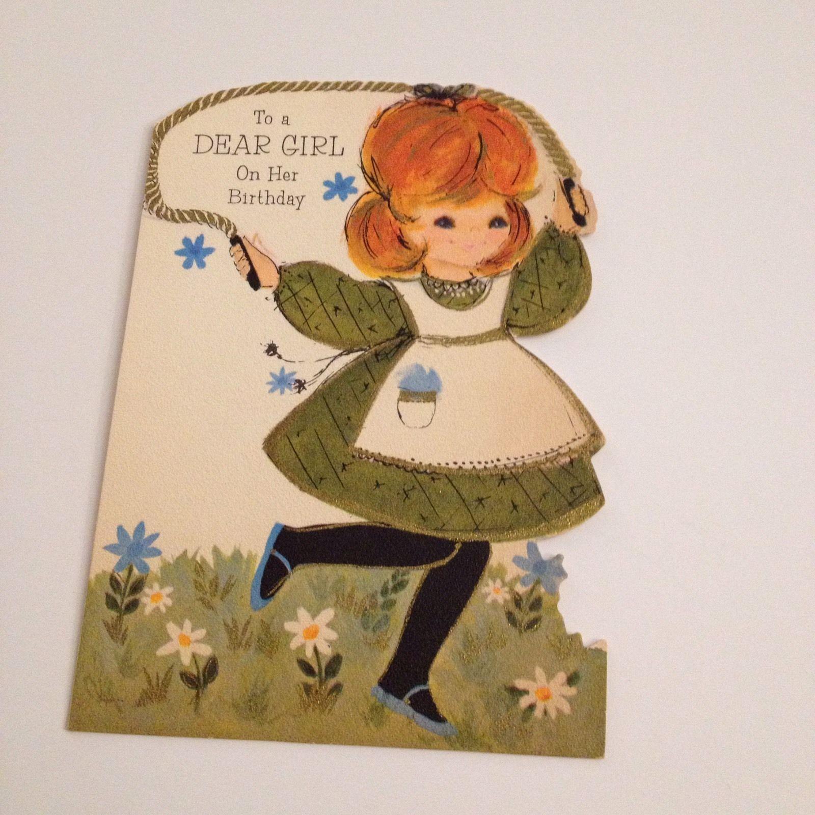 Vintage Greeting Card Birthday Hallmark Red Head Jumping Rope Girl