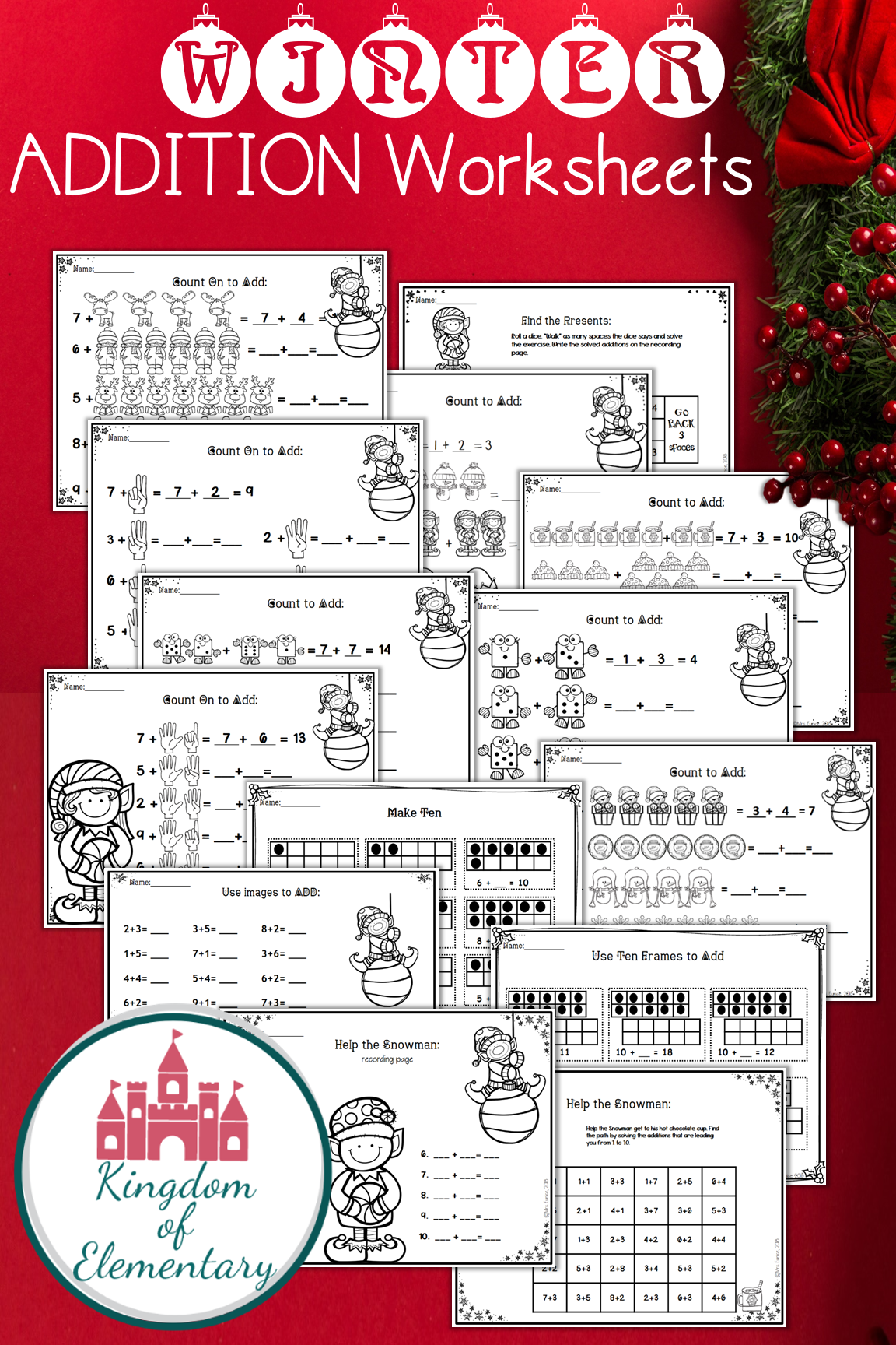 Winter Addition Worksheets For Kindergarten