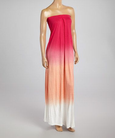 This Pink Ombré Strapless Maxi Dress - Women by Raviya is perfect! #zulilyfinds