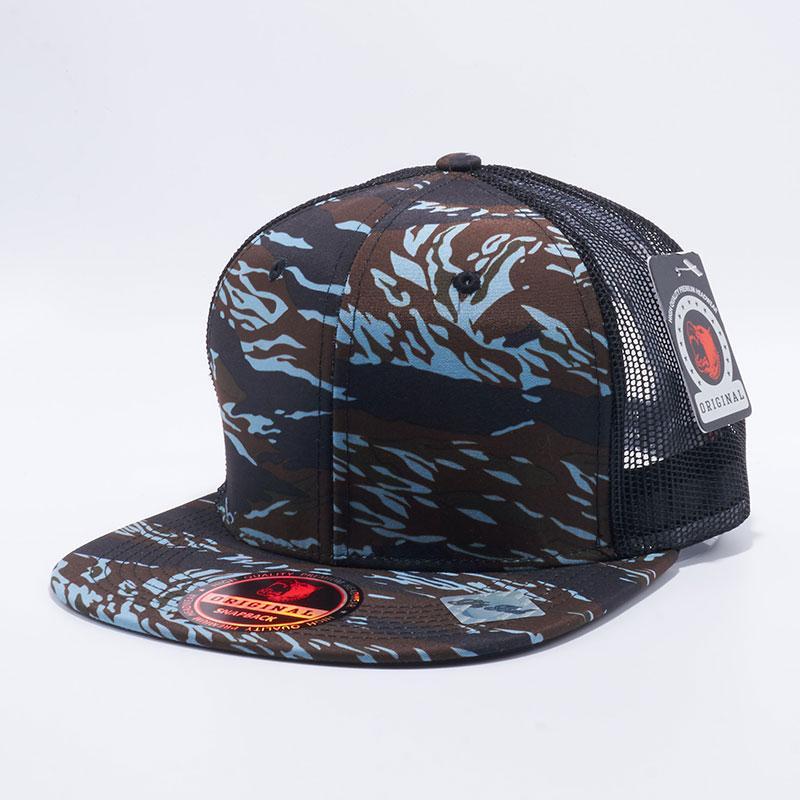 38df6f983e5 Pit Bull Tiger Camo Trucker Hats Wholesale  Blue Black
