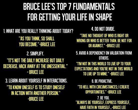 (Image) Bruce Lee's 7 Fundamentals For Getting Your Life In Shape