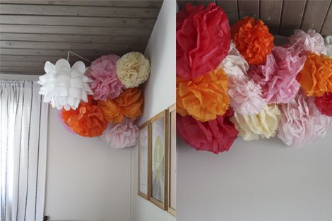 Tissue paper pom poms id love this above her bed oranges yellows tissue paper pom poms id love this above her bed oranges mightylinksfo Images
