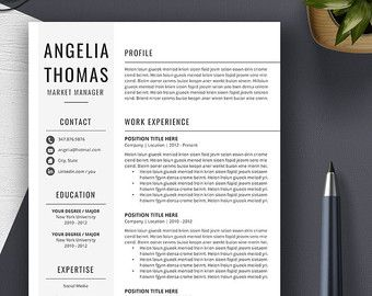 Professional Resume Template Cv Template Cover Letter Ms  Career
