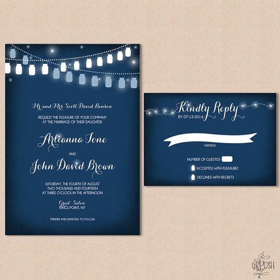 Mason Jar Wedding Invitation Blue on Etsy, $3.25