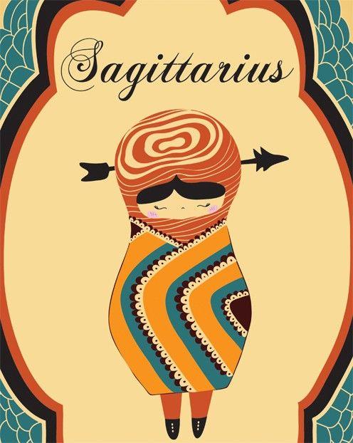 Sagittarius Astrological Sign Art Print, Sagitarius Constellation Poster 8x10 Hand Illustrated Zodiac Sign Artwork. $19.00, via Etsy.