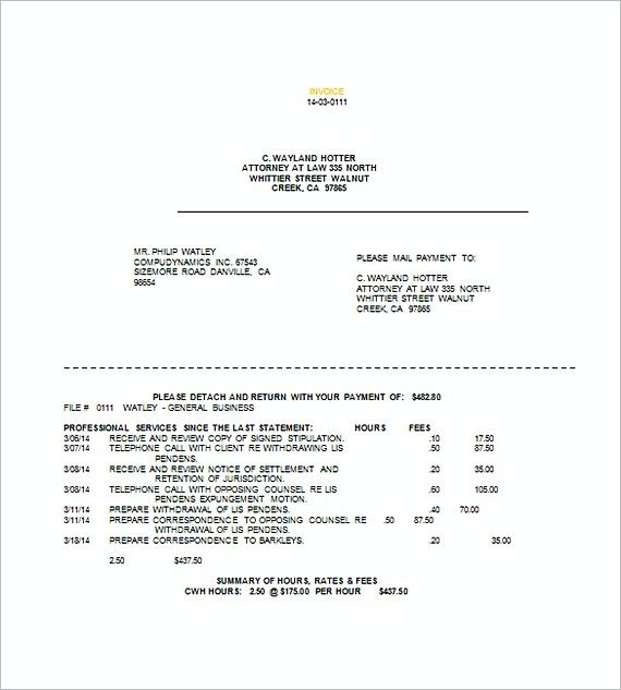 Sample Legal Invoice Templates Attorney Invoice Template What - Legal invoice template