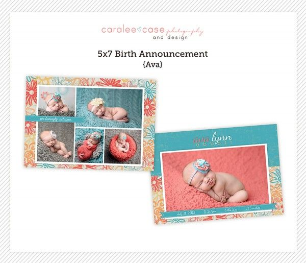 5x7 Birth Announcement Template by Caralee Case Photography. Cards. Templates. Colorful. Design. #caraleecasephotography #template #birthannouncements #cards #designs #newbornpictures #5x7