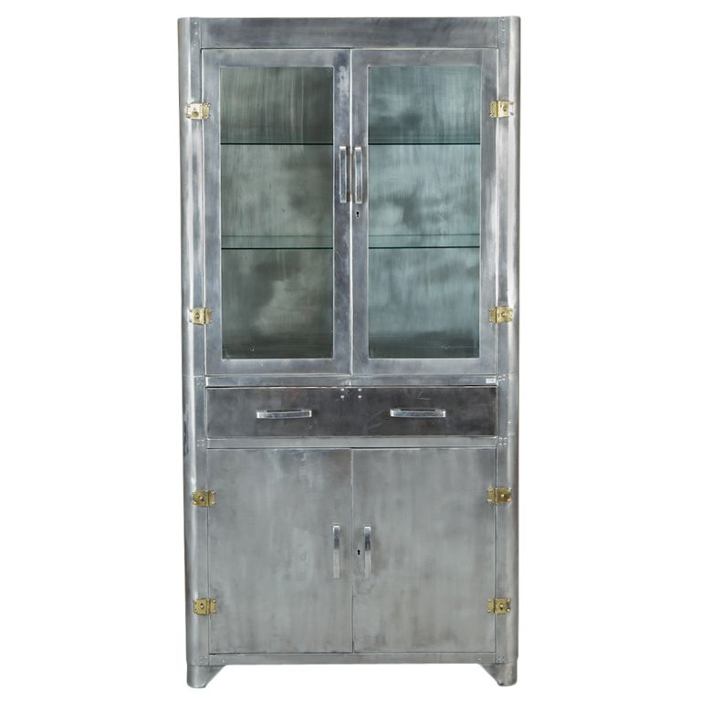 Mid Century Industrial Steel And Glass Cabinet Unknown