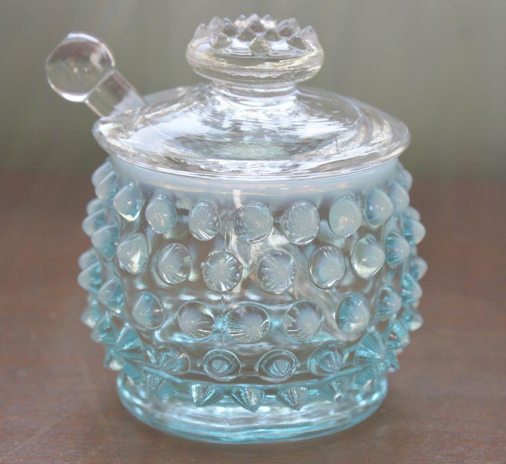 Fenton Blue Opalescent Hobnail Mustard Jar   \