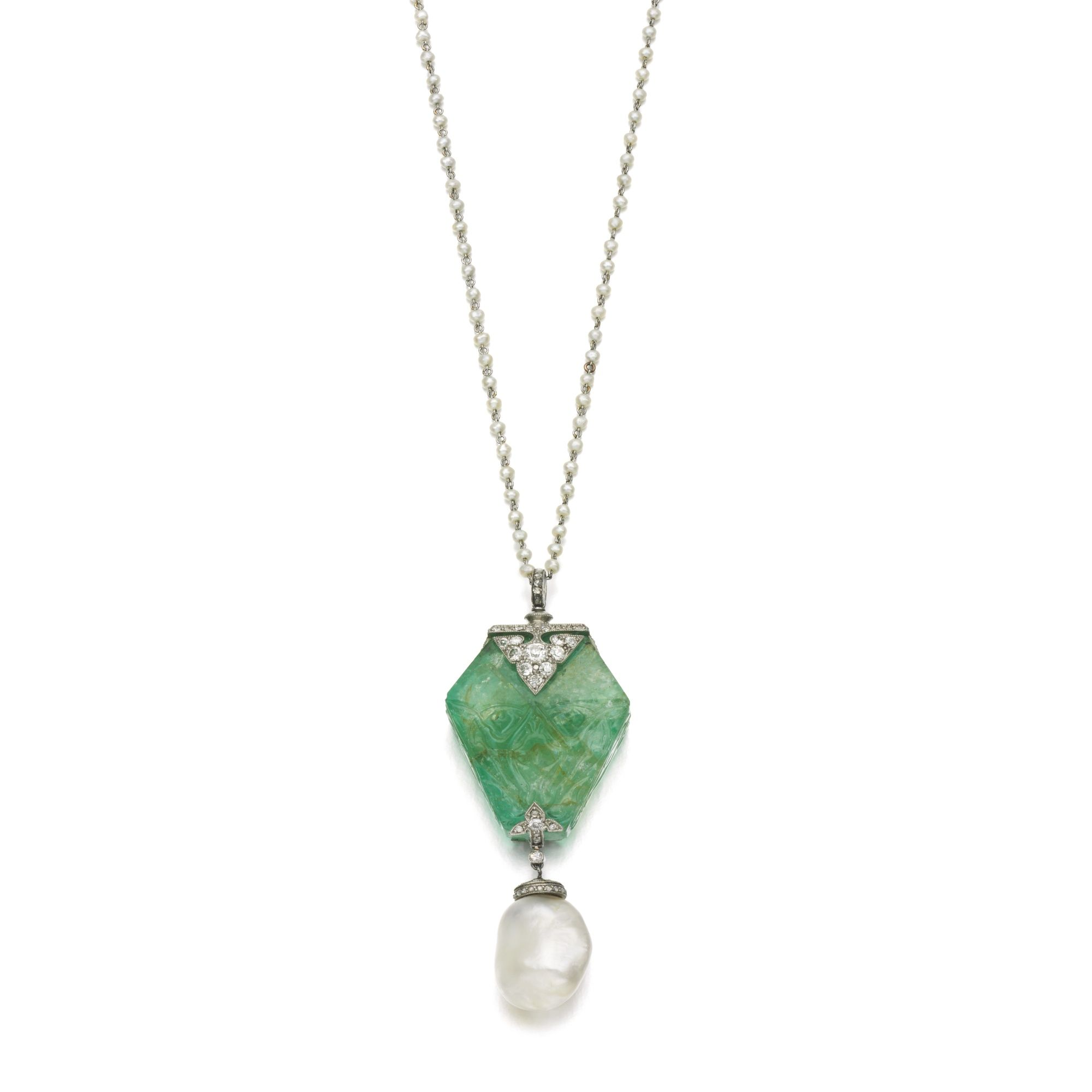 Natural pearl emerald and diamond pendant cartier early th