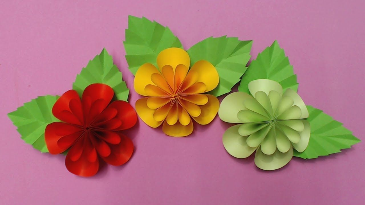 How To Make Flower With Color Paper Diy Paper Flowers Making