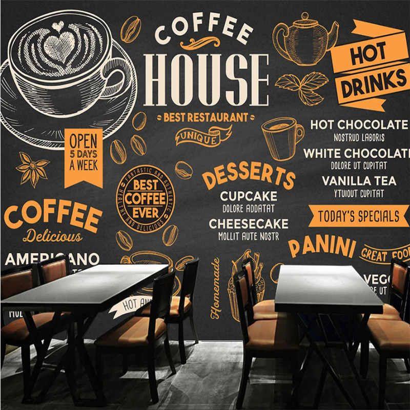 Custom Wall Mural 3d Creative Beverage Juice Art Wall Painting Bar Snack Bar Ice Cream Milk Tea Shop Wall Decor Mural Wallpaper Coffee Theme Coffee Shop Design