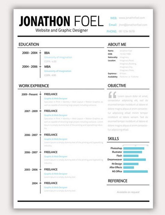 Download 35 Free Creative Resume CV Templates XDesigns z0KoU9Bg - download resume formats for freshers