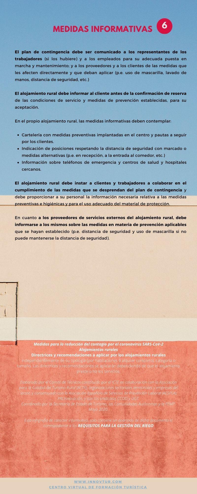 Infografia requisitos para la gestión del riesgo. Medidas informativas alojamientos rurales
