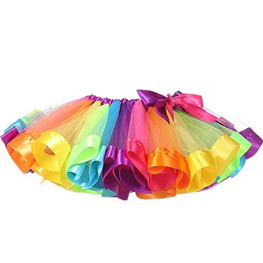 New Little Girls Colorful Rainbow Layered Ribbon Tiered Ballet Tutu Skirt