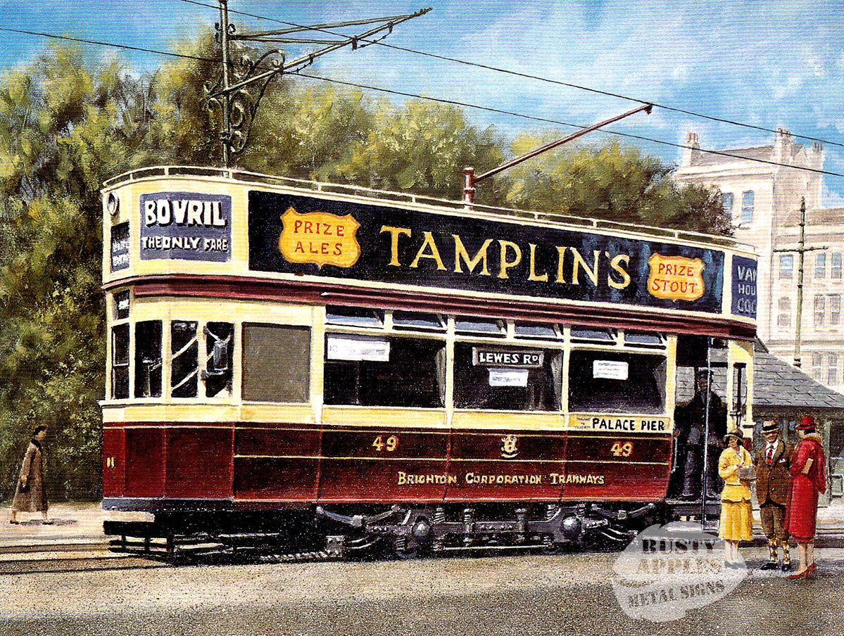 3 SIZES TO CHOOSE FROM BELFAST VINTAGE TROLLEY BUS ORIGINAL PAINTING METAL SIGN