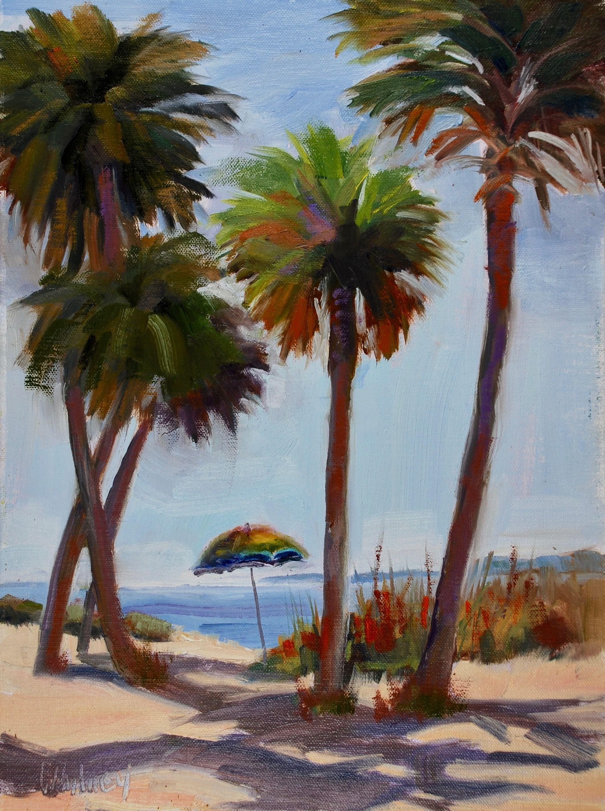 Florida Sunny Seashore Landscape With Beach Umbrella Palm Trees
