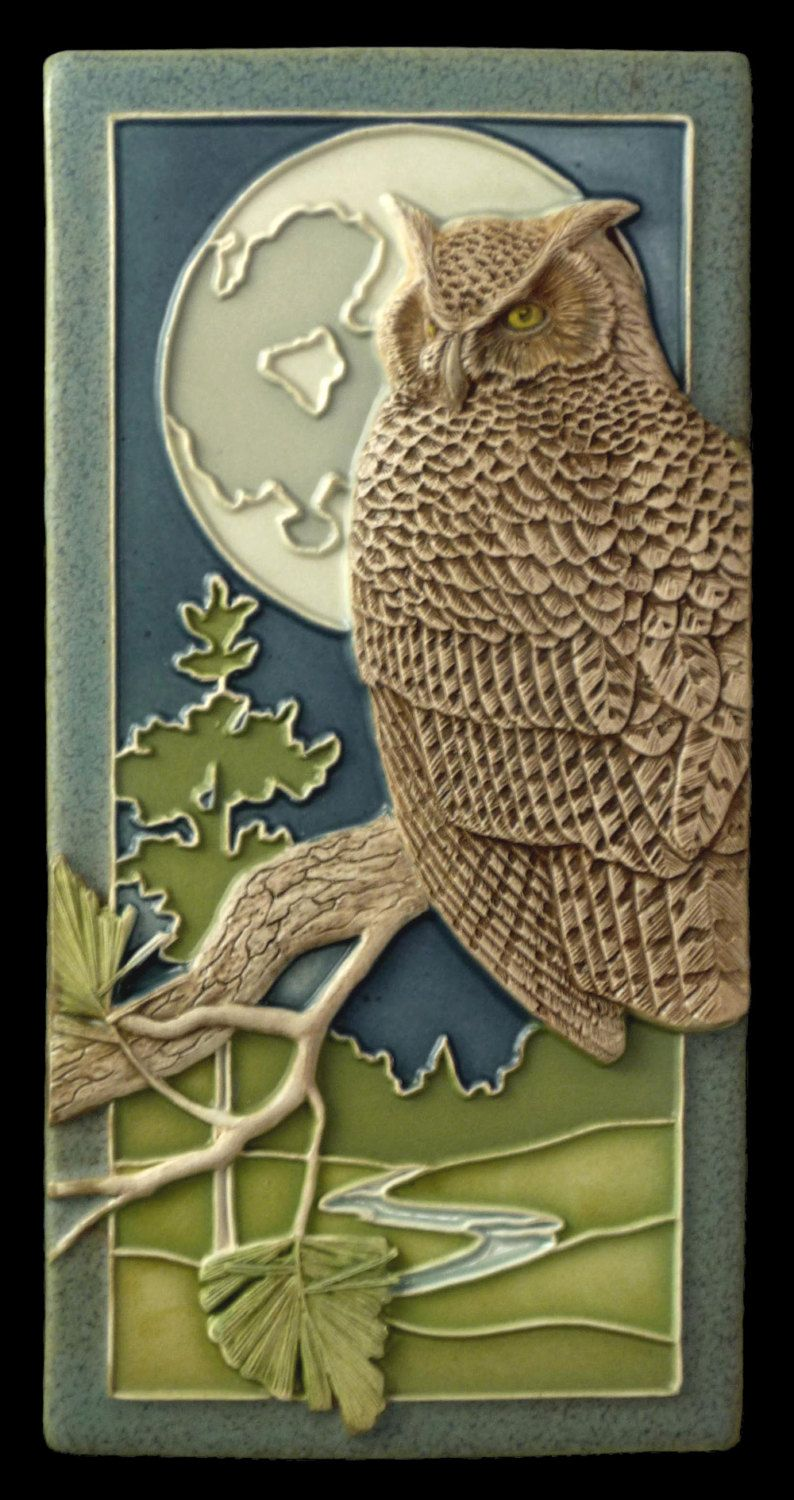 Tiles For Wall Decor Enchanting Ceramic Tile Night Owl Art Tile Wall Decormedicinebluffstudio Design Inspiration