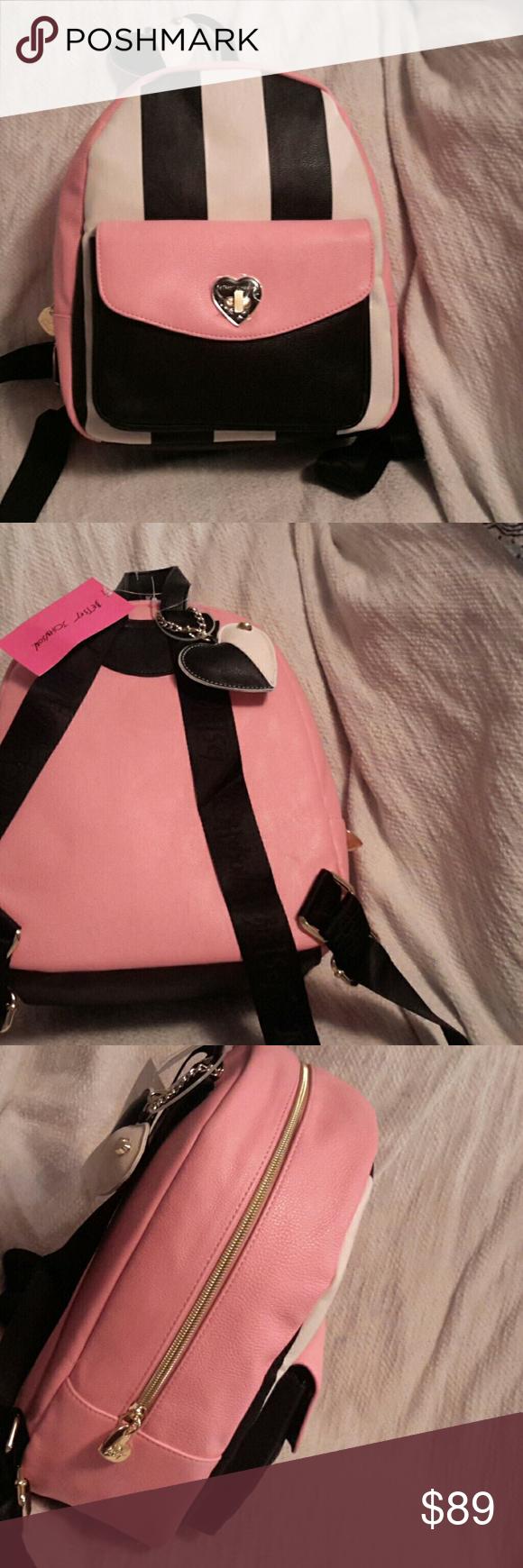 Betsey johnson backpack with heart dangle NWT Turlock med be mine stripe pink, black, white. (ML) Betsey Johnson Bags Backpacks