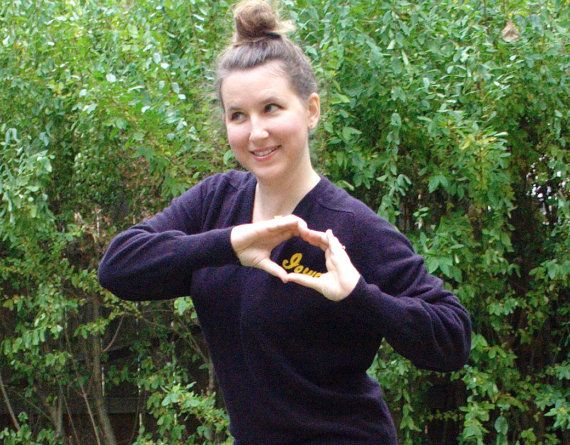 Vintage I Heart Iowa Sweater. Navy Blue. Size medium, large by blissjoybull, $35.00. Eco friendly.