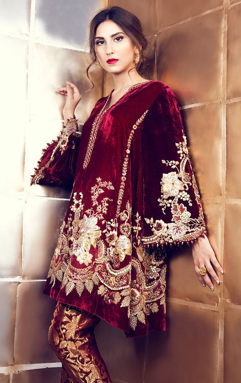 e9d1c6a298 Maroon Velvet Suit with Pakistani Pant in 2019 | paki dresses ...