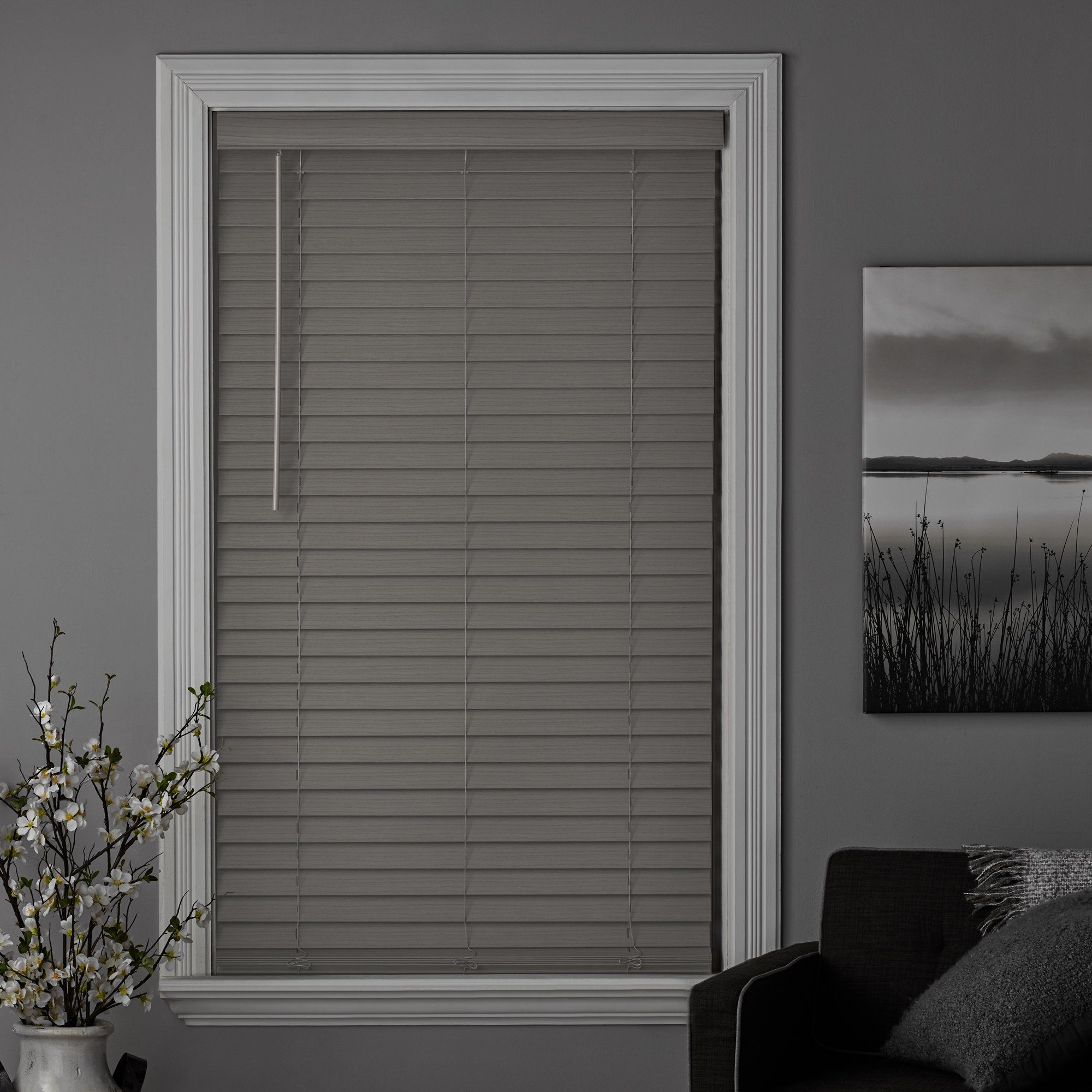 Better Homes Gardens 2 Inch Cordless Faux Wood Blinds Rustic Gray 36 X 64 Walmart Com In 2021 Wood Blinds Faux Wood Blinds Blinds
