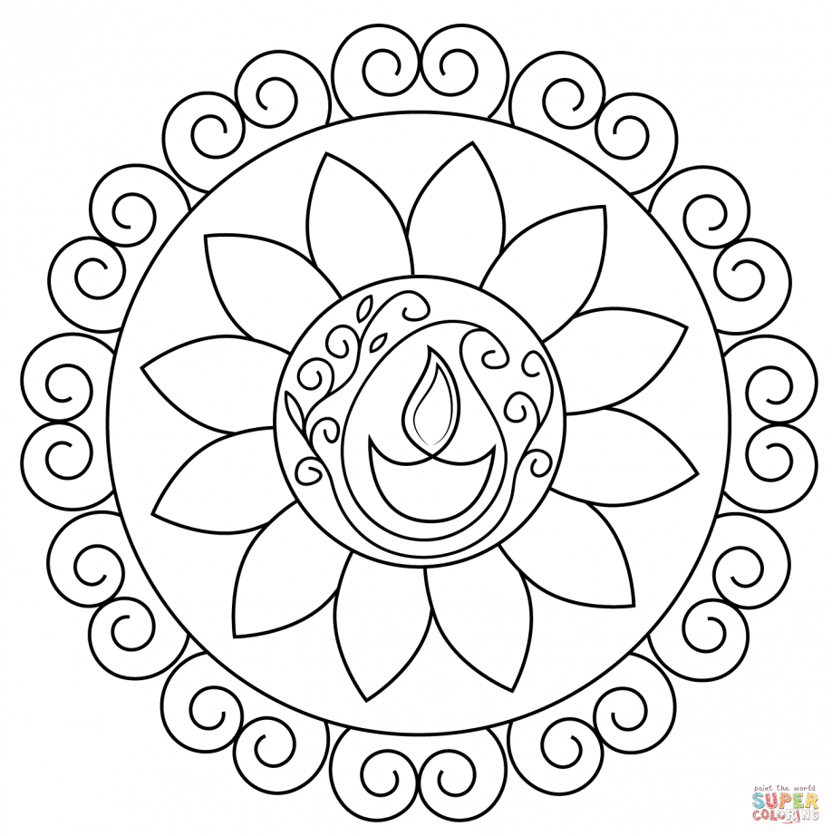 Coloring Diwali Lamp Coloring