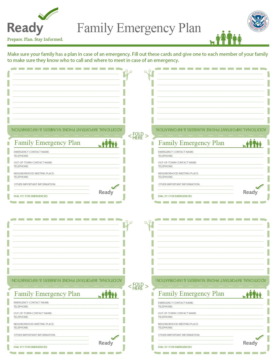 Printable Family Plan For Wallets And Book Bags