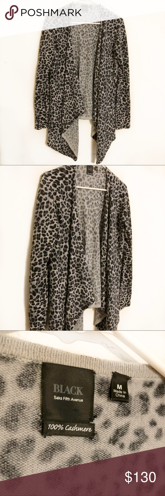 Saks Fifth Avenue Black Label Cashmere Cardigan Medium Cascading Open And Grey Cheetah