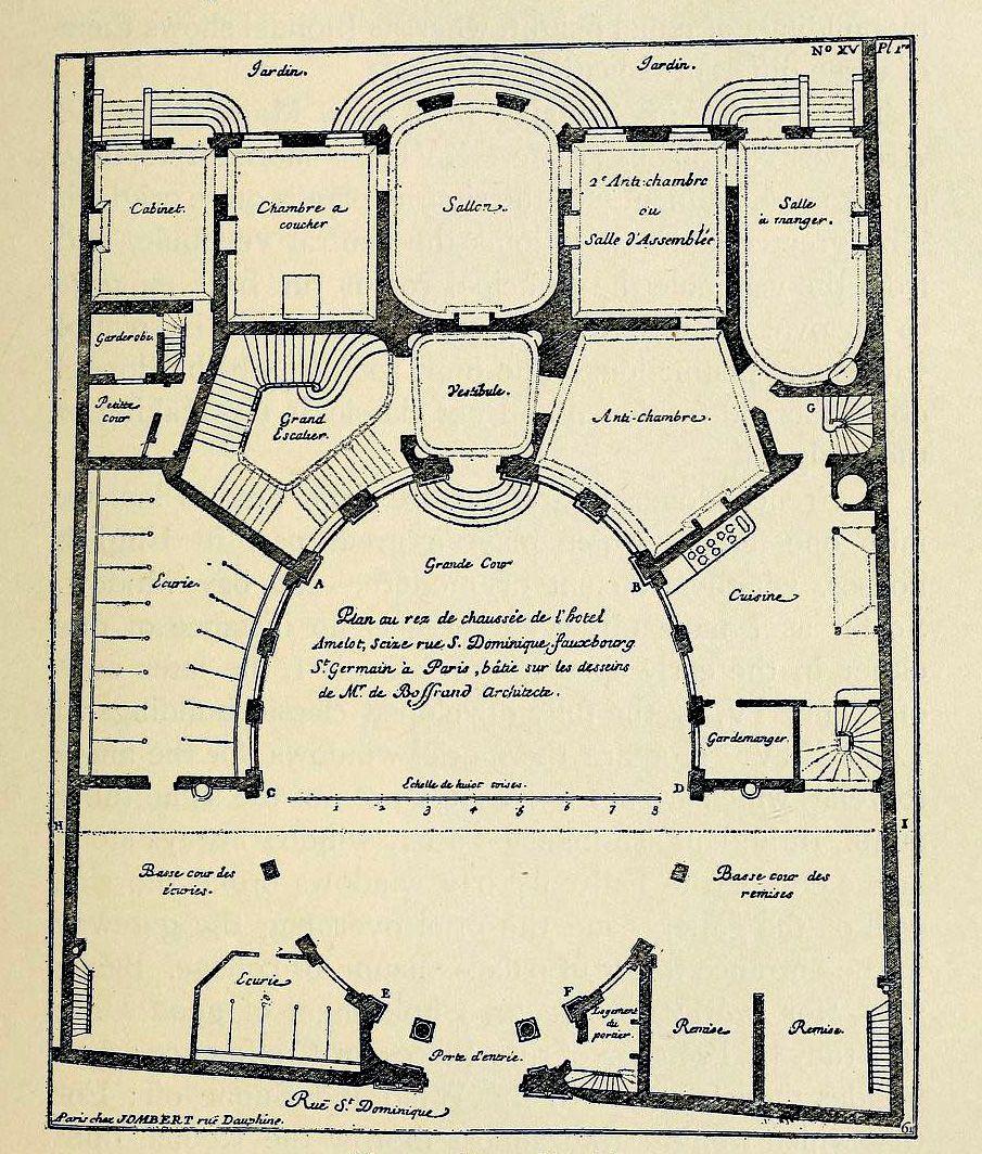 plan of boffrand u0027s hôtel amelot on rue saint dominique paris