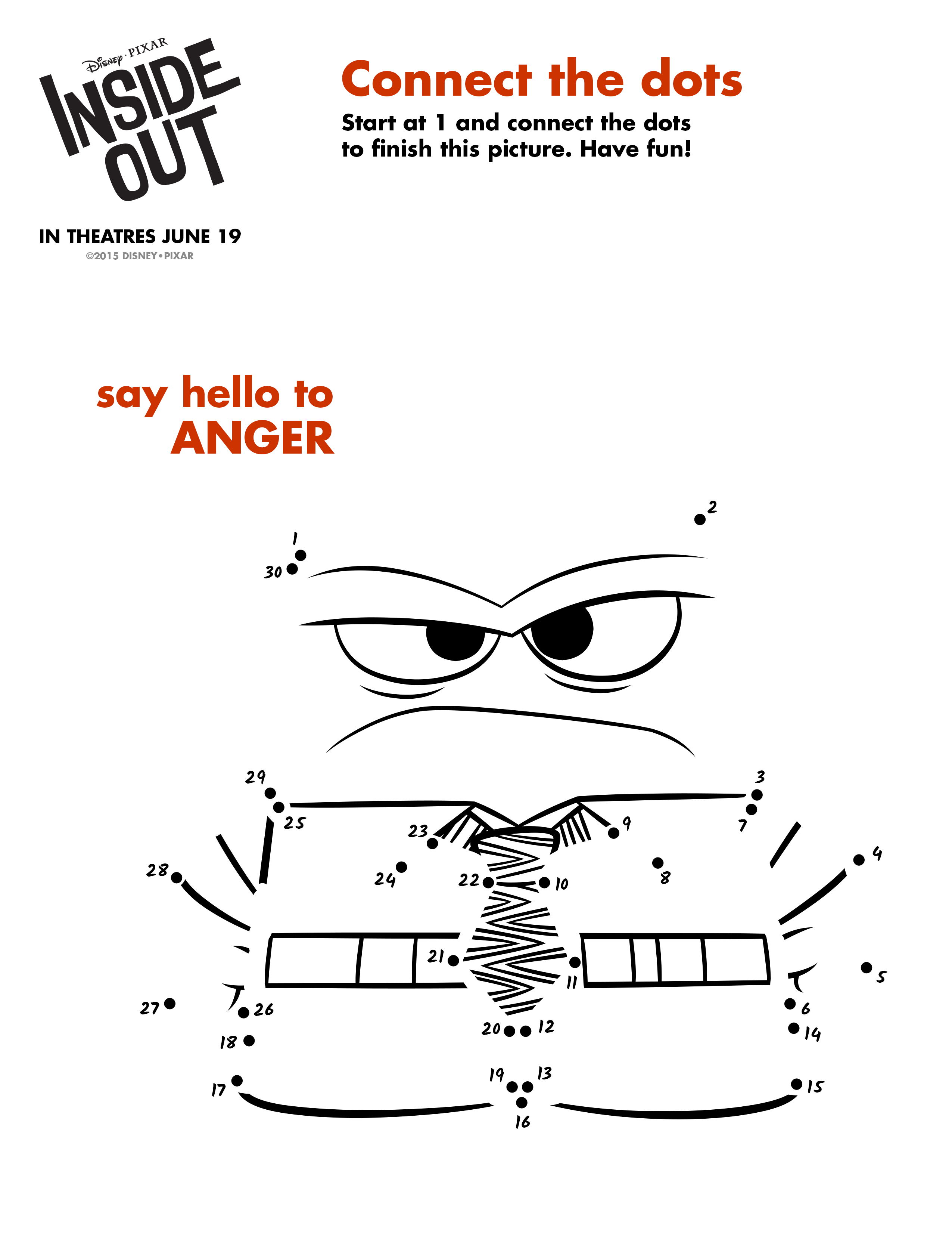 Connect The Dots To Make Anger From Insideout