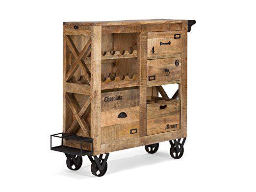 Massivum 10021623 Servierwagen Woodside Holz, braun, 30 x 104 x 100 ...