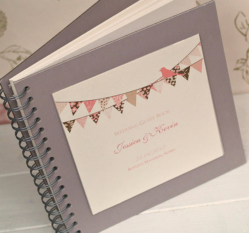 Wedding Guest Book Cover Ideas : Bunting design personalised wedding guest book vintage