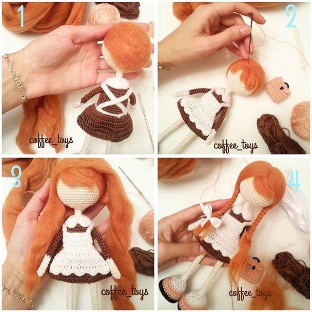 решила показать вам процесс создания прически для вязаной куклы в