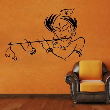 600584d34f0 CW Decor Krishna Wall Sticker Black